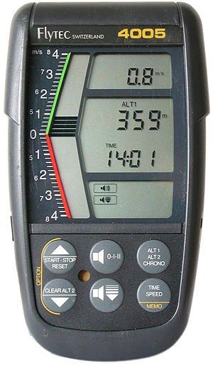Variometer - A variometer for paragliders, hang gliders, and ballooneers, showing vertical speed with both a ribbon indicator and a numeric readout