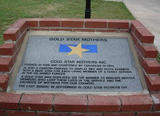 American Gold Star Mothers - A monument at the Ocala, Florida memorial park that mentions the organization