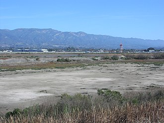 Goleta Slough - The Goleta Slough, looking northeast from UCSB, showing Santa Barbara Airport and the Santa Ynez Mountains in the distance.