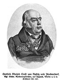 Gottlob Adolf Ernst von Nostitz und Jänkendorf war von 1795 bis 1817 Präsident der Oberlausitzischen Gesellschaft der Wissenschaften. (Quelle: Wikimedia)