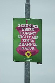 Ein Wahlplakat der Grünen zur Bundestagswahl 2017