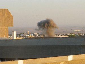 Gaza–Israel conflict - A Grad rocket hitting Beersheba, January 2009