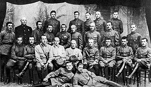 Konstantin Rokossovsky - Graduates of the Leningrad Higher Cavalry School 1924/25 Sitting in the second row (right to left): 1. Bagramyan, 3. Yeremenko. Standing in the third row (right to left): 1. Zhukov, 5. Rokossovsky.
