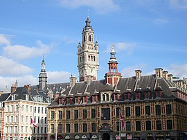 Lille's belfry and Vieille Bourse from the Place du Général de Gaulle, also known as Grand'Place