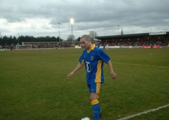 AFC Wimbledon - Ryan Gray prepares to take a corner in a 2–1 win over AFC Wallingford on 8 May 2004 in AFC Wimbledon's final fixture in the Combined Counties League Premier Division.