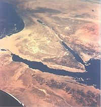 The Sinai Peninsula at center and the Dead Sea and Jordan River valley above