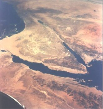 Jordan Rift Valley - Northern section of the Great Rift Valley. The Sinai Peninsula is in center and the Dead Sea and Jordan River valley above