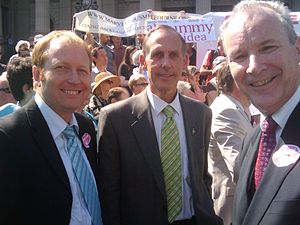 Bob Brown - Greg Barber, Bob Brown and Brian Walters attending a protest rally in Melbourne in 2010
