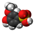 Guaiacolsulfonate molecule spacefill.png