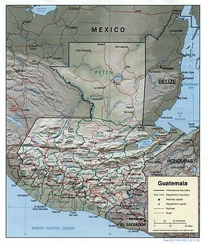 Outline of Guatemala - An enlargeable relief map of Guatemala
