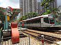 HK 屯門 Tuen Mun 輕鐵 建生站 Kin Sang Stop July Tsing Lun Road tram 1055 615 platform mirror 2016 DSC.jpg