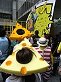 HK Central Chater Road Sunday party visitors cheese hat Oct-2012.JPG