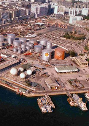 Oil terminal - An oil depot in Kowloon, Hong Kong around the mid-1980s. The depot was redeveloped into a residential area Laguna City in the late 80s and early 90s.