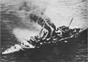 HMS Enterprise (D52) - Cornwall sinking after a Japanese attack, Enterprise rescued some of her crew.