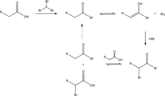 Hell–Volhard–Zelinsky halogenation - Hell-Volhard-Zelinsky reaction mechanism overall