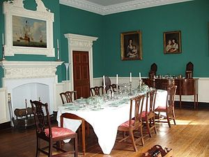 Hammond–Harwood House - Dining room with rococo carving attributed to Thomas Hall
