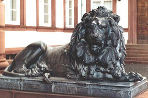 Hanau (Germany). Lion of the Philippsruhe castle. May 2005.