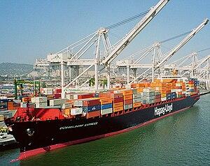 A Hapag-Lloyd ship at the Port of Oakland, Cal...