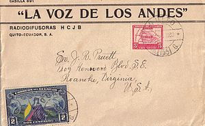 HCJB - An HCJB envelope with a 1938 postmark which contained a QSL card sent to the addressee