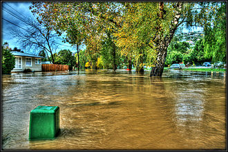 Heathcote River - The Heathcote River in flood in Beckenham in April 2014