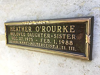 Pierce Brothers Westwood Village Memorial Park and Mortuary - Inscription at Heather O'Rourke's crypt.