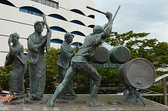 Heike ondo - Statues depicting heike ondo performers and heike odori dancers, in front of the Sea Mall, Shimonoseki