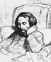 Der kranke Heinrich Heine (Bleistiftzeichnung von Charles Gleyre, 1851) (Quelle: Wikimedia)
