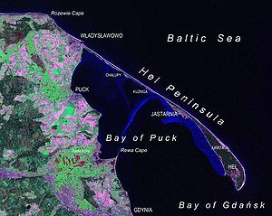 Hel Peninsula as seen from Landsat satellite in 2000.