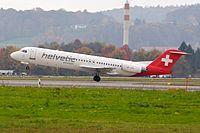 Helvetic Airways Fokker F100 HB-JVG Zurich International Airport.jpg