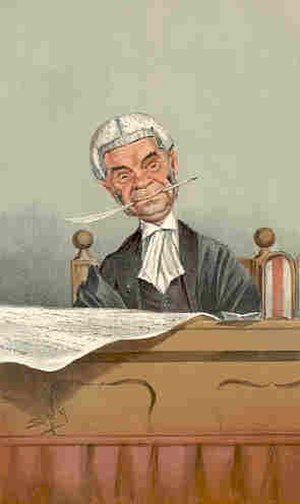 """Herbert Cozens-Hardy, 1st Baron Cozens-Hardy - """"fair, if not beautiful"""". Caricature by Spy published in Vanity Fair in 1901"""