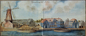 Johann Steinhauer - Hermelingshof in 1779.Drawing by Johann Christoph Brotze