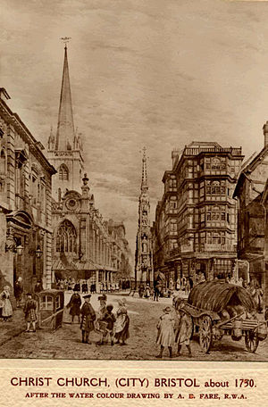Bristol High Cross - Black and white sketch from c.1730 looking east from Corn Street to Wine Street, Bristol, UK. The church tower visible is that of Christ Church with St Ewen, Bristol. On the far left of the image, on the north side of the road is the Register Office (previously the old Council House). In the centre of the junction can be seen the Bristol High Cross, and on the right of the image, on the south side of Wine Street is The Dutch House, Bristol, damaged during the Bristol Blitz. The street scene shows a lot of people, a horse and cart, and a sedan chair.