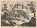 Hilly River Landscape, a Boat in the Water at Foreground Left, a Figure on the Far Shore, Houses on a Wooded Hill Beyond MET DP823309.jpg
