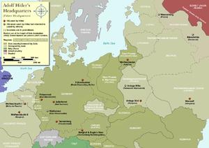 "Werwolf (Wehrmacht HQ) - Map showing the location of ""Werwolf"", and other Führer Headquarters throughout Europe"