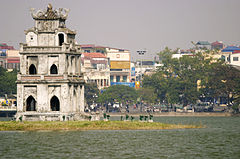 Hoan Kiem Lake with Thap Rua (Tortise Tower) (3695178852).jpg