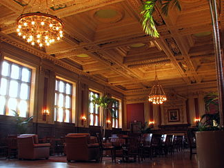 Holmes Lounge, the central reading room on campus, where students may eat and study