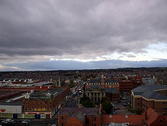 Hartlepool - A view of the town facing west from the viewing platform built into the Christ Church tower.