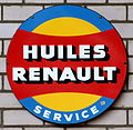 Huiles Renault service, Enamel advert sign at the den hartog ford museum pic-048.JPG