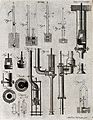 Hydraulics; various designs for pumps. Engraving by A. Bell. Wellcome V0024467EL.jpg