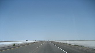 Interstate 80 in Utah - I-80 eastbound across the Bonneville Salt Flats.