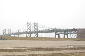 The I-74 Bridge, which spans the Mississippi River, connects the cities of Bettendorf and Moline, Illinois.