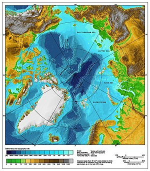 Arctic Ocean - A bathymetric/topographic map of the Arctic Ocean and the surrounding lands.