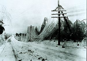 Ice storm -  Power lines sagging after an ice storm. Besides disrupting transportation, ice storms can disrupt utilities by snapping lines and poles.