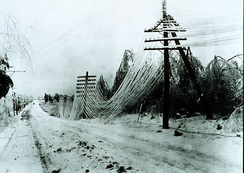 Power lines sagging after an ice storm. Besides disrupting transportation, ice storms can disrupt utilities by snapping lines and poles. Ice storm.jpg