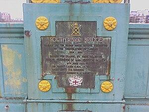 Southwark Bridge - The plaque on the west side of the bridge.