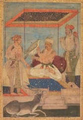 Akbar and Jahangir Examine a Ghir Falcon while Prince Khusrau Stands Behind