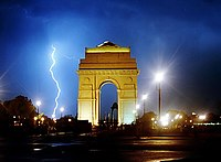 Lightning strikes near India Gate, New Delhi
