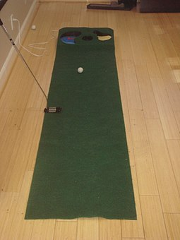 Indoor putting green for practice and instruction Indoor Putting Green.JPG