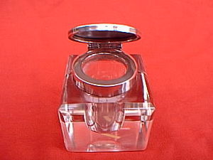 Inkwell - An English silver and glass inkwell, hallmark date 1910