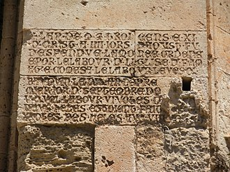 Lala Mustafa Pasha Mosque - Inscription dated 1311 on the south side of St. Nicholas Cathedral, Famagusta, recording the progress of the construction.
